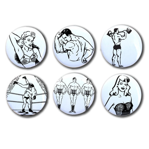 Vintage sexy black and white illustration magnets