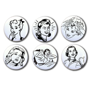 Set of Six Vintage Vintage Women Magnets