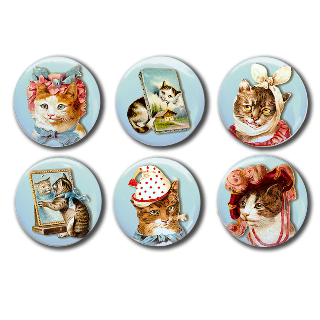 Vintage Kitties Cats Set of Six 1