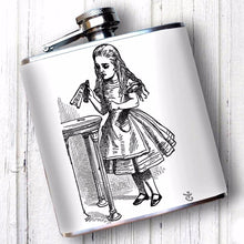 Hip flask featuring Alice in wonderland Drink Me