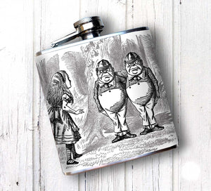 Tweedle Dee and Tweedle Dum Wonderland Hip Flask
