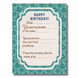 Happy Birthday Funny Form Card