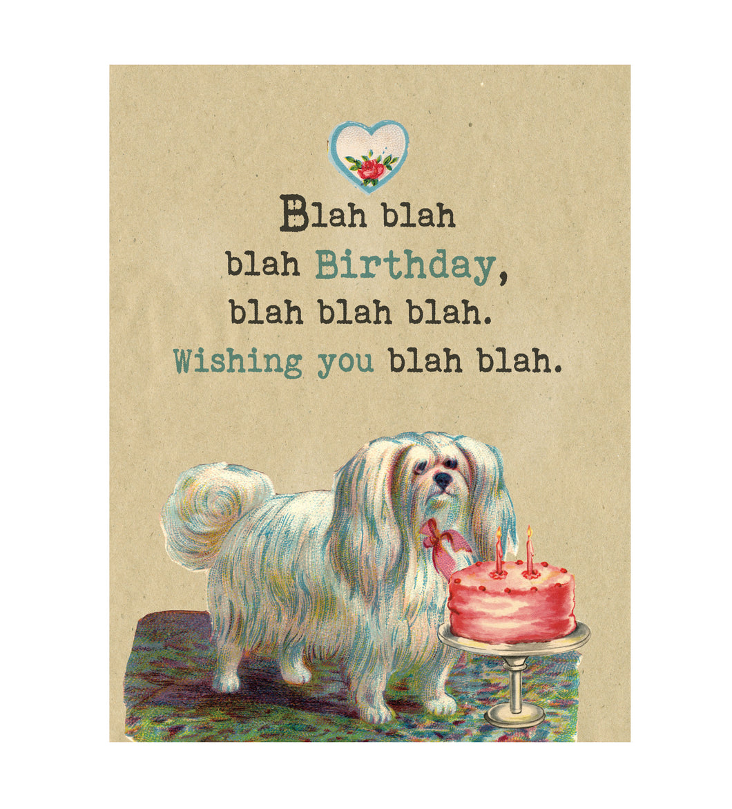 Blah Blah Blah Birthday Card, Funny Greeting Card