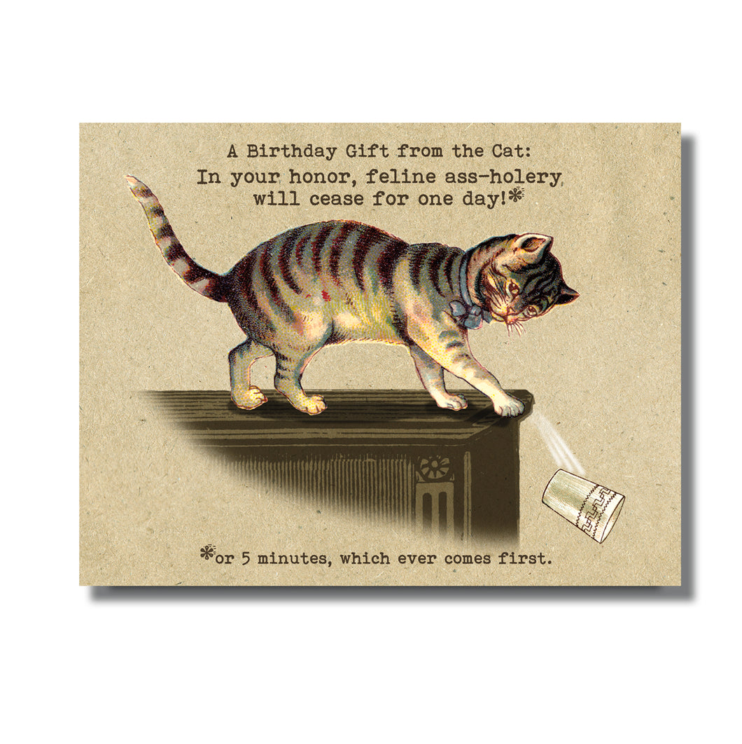 Gift from the Cat Birthday Card