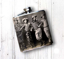 Vintage Cowboys image Whiskey Flask