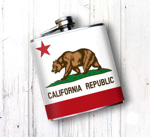 California Grizzly State Flag Alcohol Flask