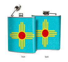 Blue Zia New Mexico Flag Flask