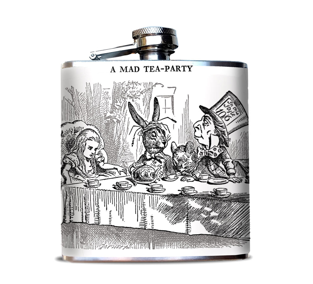 Mad Tea Party Wonderland Hip Flask