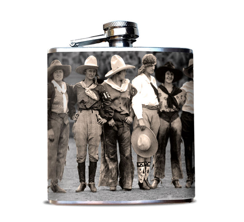 Cowgirl Rodeo Riders Hip Flask