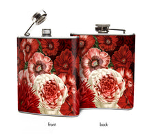 Victorian Red Flowers on 6 oz Hip Flask