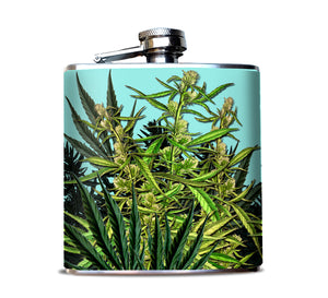 Cannabis Botanical Print Flask for Women