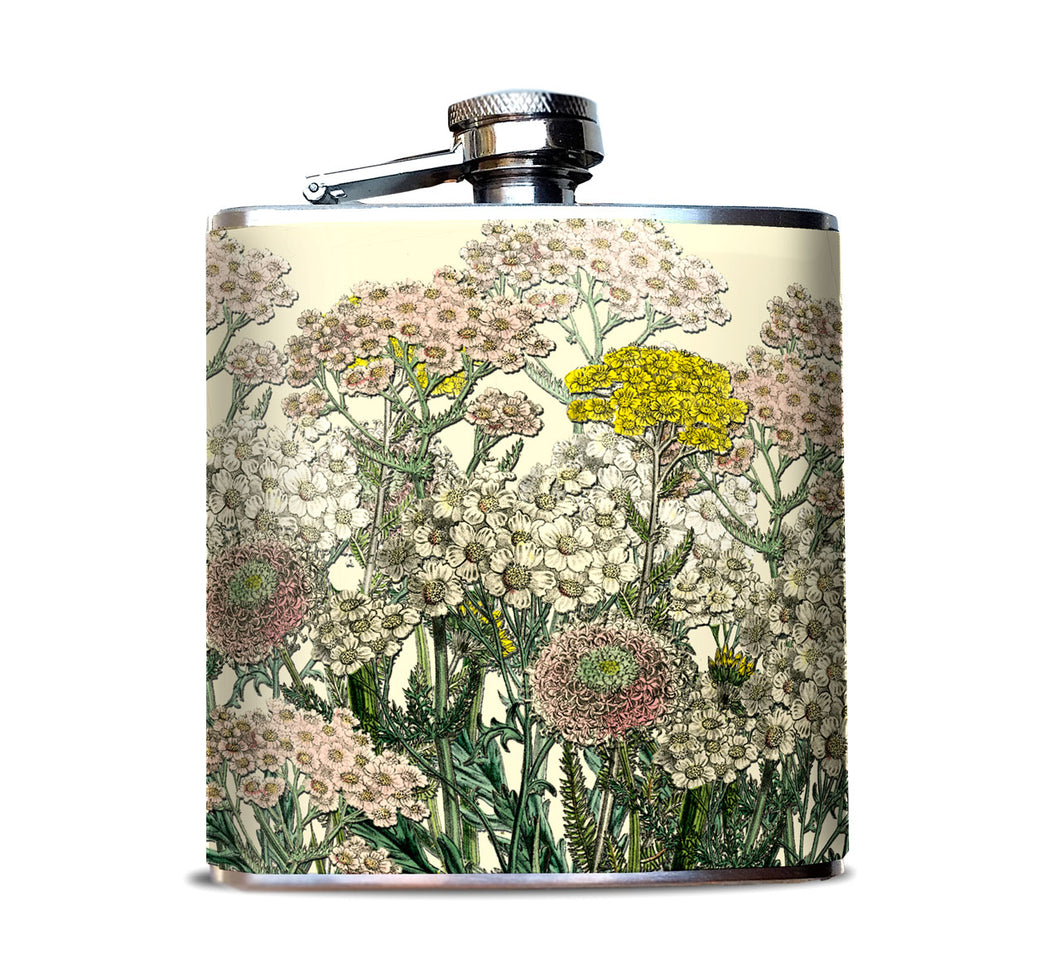 Pink and Ivory Victorian Flower Pattern Whiskey Flask