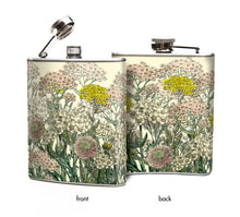 Women's Hip Flask: Pink and Ivory Victorian Flower Pattern