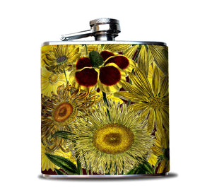 Yellow Sunflowers Liquor Flask