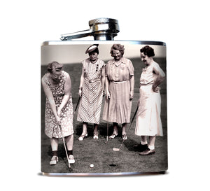 Black and White Vintage Women Golfing Flask