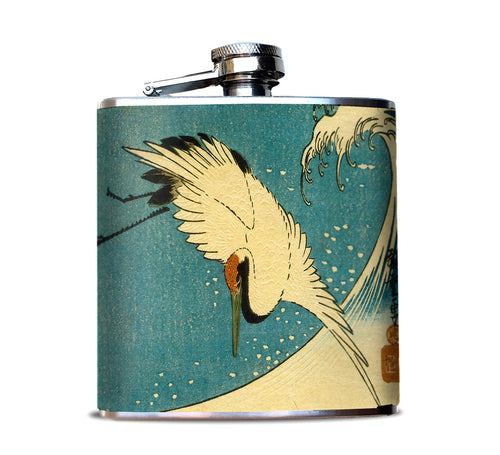 Japanese Crane Hip Flask