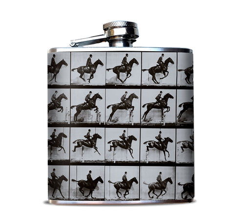Muybridge Jumper Horse Hip Flask