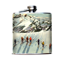 Snow Ski Vintage Postcard Flask