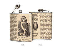 Owl Dictionary Page Liquor Flask
