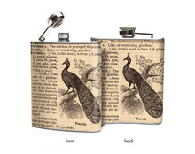 Peacock Dictionary Page Flask