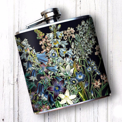 Victorian Blue Flowers 6 oz Hip Flask