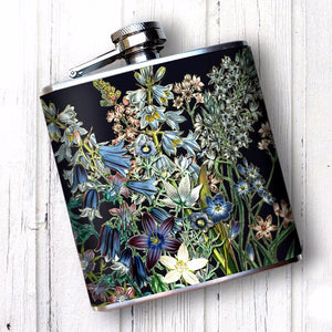 Victorian Blue Flowers Flask for Women, 6 oz Hip Flask