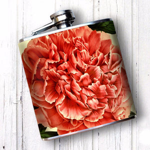 Peony Flower 6 oz Hip Flask