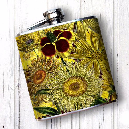 Yellow Sunflowers 6 oz Hip Flask