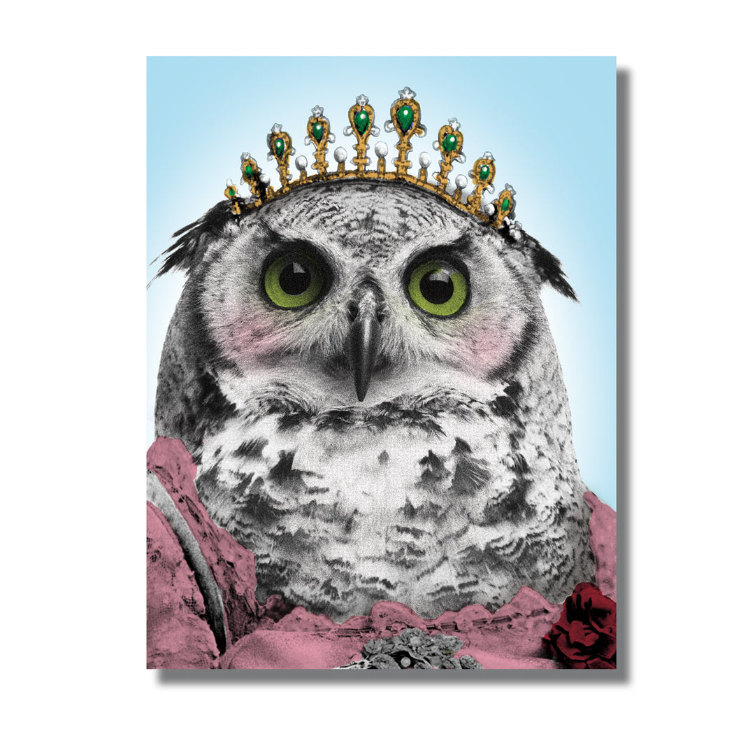 Owl Queen Blank Greeting Card