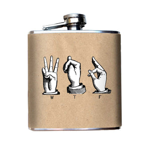 WTF Sign Language Alcohol Flask