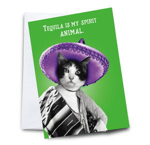 Tequila is My Spirit Animal Cat Greeting Card