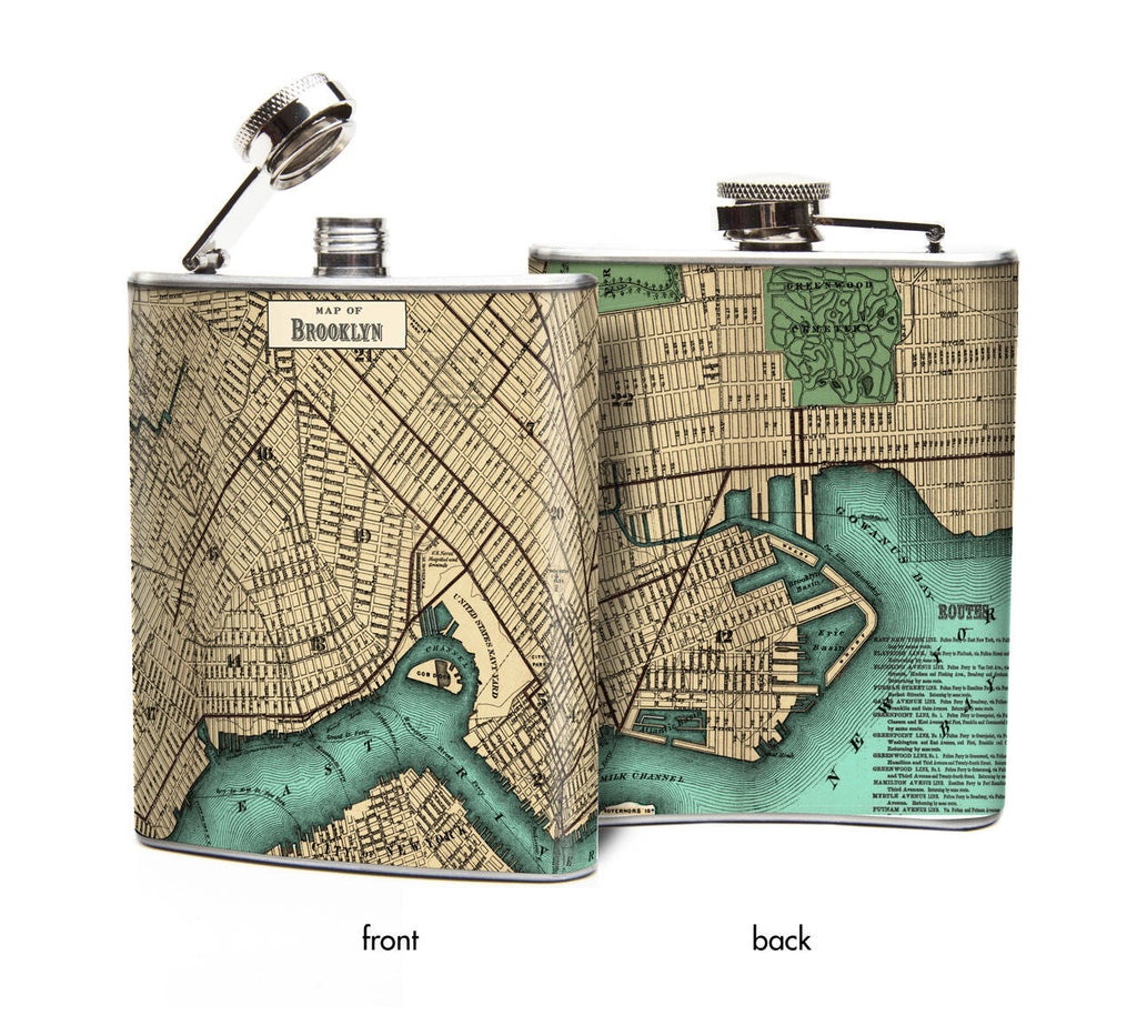 Pocket Flask of BROOKLYN Map, Antique Map of Brooklyn New York, Gift for World Traveler, Brooklyn NYC street map, New Yorker Gift