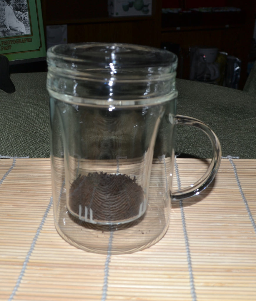 12 oz Glass Mug with glass infuser and lid