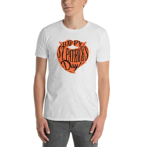 St Patrick Day Orange Beard T Shirt White Color Happy St Patrick day T Shirts for Men - FlorenceLand