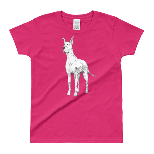 Great Dane T Shirt Pink Great Dane T Shirt for Women - FlorenceLand