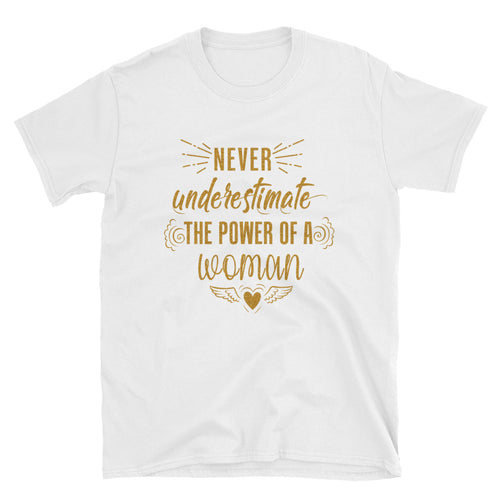 Never Underestimate The Power of a Woman T Shirt Golden Glitter Woman Power Tee - FlorenceLand