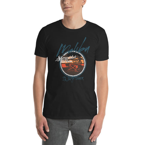 Buy Malibu Beach Surf T Shirt for Men in Black Color
