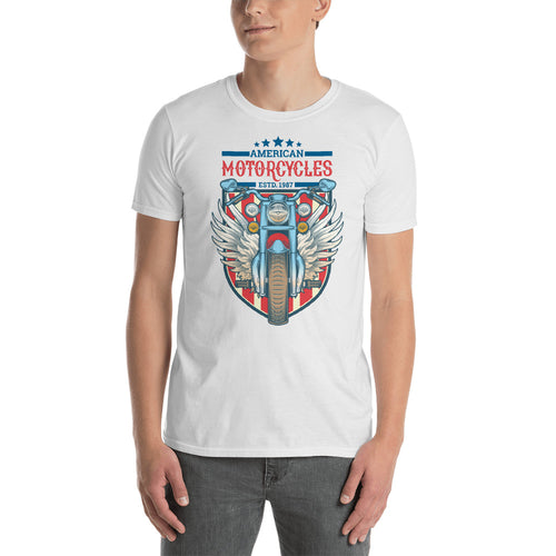 American Motorcycle Est 1987 T Shirt White Classic Racer Motorbike T Shirt for Men - FlorenceLand