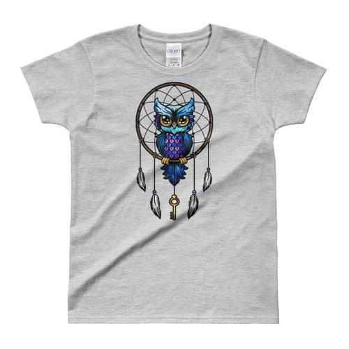 Dream Catcher T Shirt Grey Dream Catcher Owl T Shirts for Women - FlorenceLand