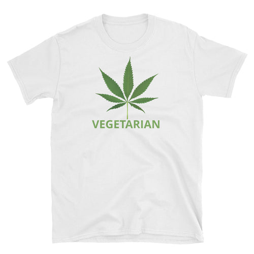 Pot Leaf Vegetarian T-shirt White 100% Cotton Marijuana T-Shirt for Men