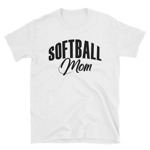Softball Mom T Shirt Unisex White Sporty Softball Mom Gift T Shirt Design Idea