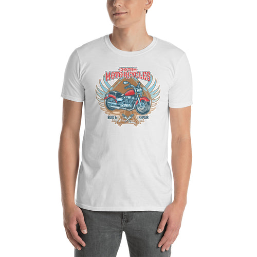Custom Motorcycle T Shirt White Old Fashion Motorbike Graphic Tee Shirt for Men - FlorenceLand