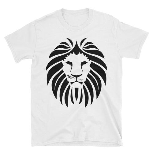 Lion Short Sleeve Round Neck White 100% Cotton T-Shirt for Men