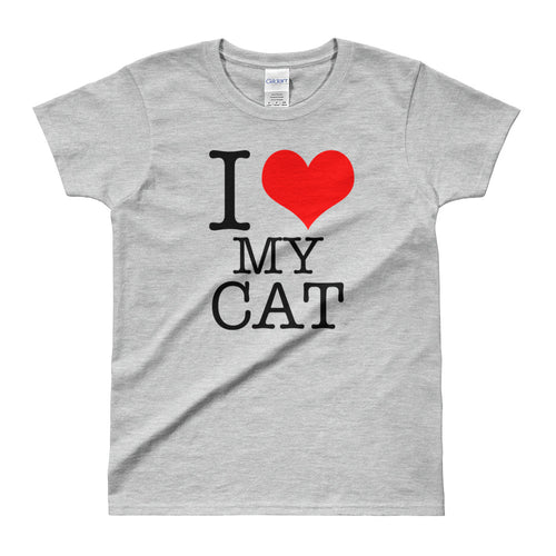 I Love My Cat T-Shirt Grey Cat Lover T Shirt for Women - FlorenceLand