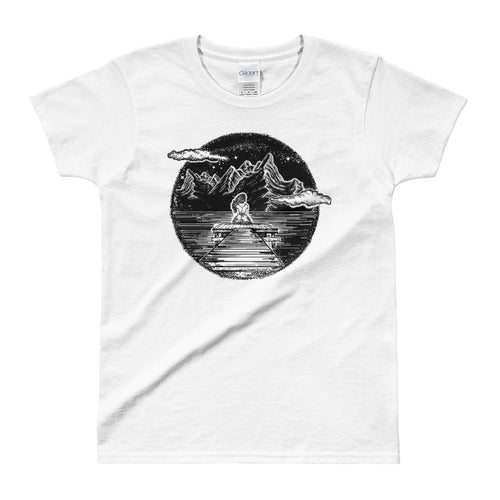 Girl in The Mountain Tattoo Design Ink & Inspiration White Shirt for Women in White Color - FlorenceLand
