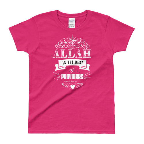Allah is The Best Provider T Shirt Pink Quranic Verses T Shirt for Women - FlorenceLand