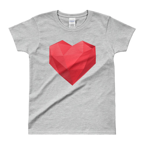 Asymmetrical Heat T Shirt Grey Geometrical Heart T Shirt for Women - FlorenceLand