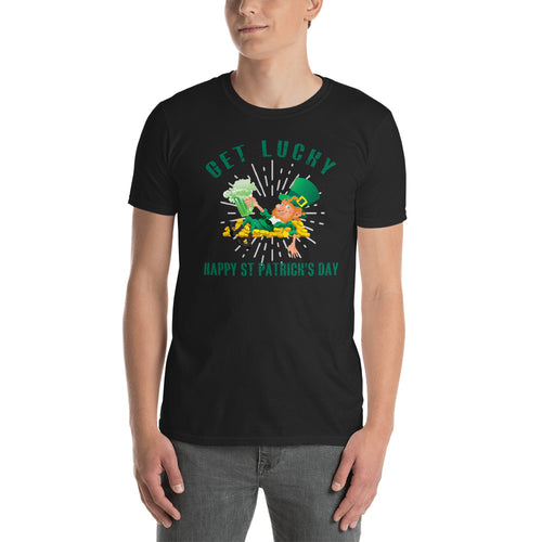 Get Lucky T Shirt Black Happy St. Patrick's Day T Shirt for Men - FlorenceLand