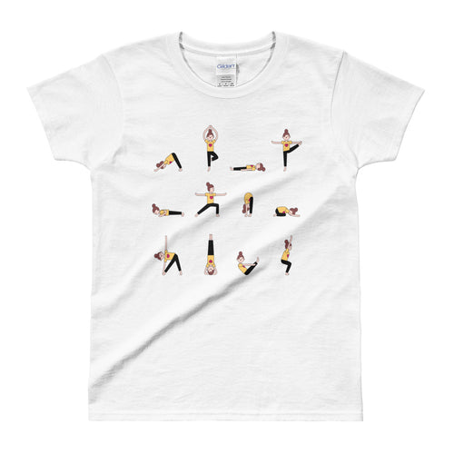 Yoga T Shirt White Yoga Moves T Shirt Cotton Yoga Tee for Women - FlorenceLand