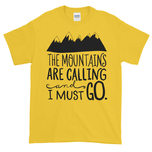 The Mountains Are Calling and I Must Go T Shirt Yellow Cotton T Shirt for Men